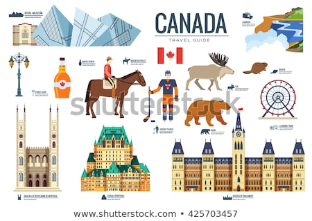 Country Canada travel vacation infographic of place and feature. Set of architecture, fashion, peopl Stock photo © Linetale
