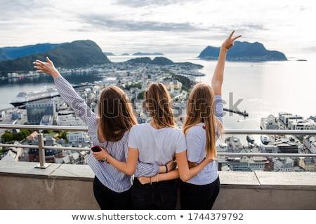 Toeristische stad Noorwegen haven beroemd toeristische attractie Stockfoto © Kotenko