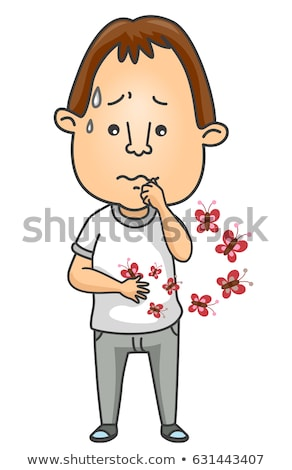 Man Idiom Butterflies Stomach Illustration Stock photo © lenm