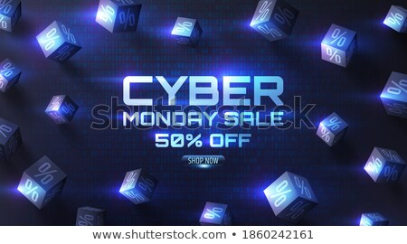 Vector Cyber monday Sale web banner on binary code dark background. Online web shopping data concept Stock photo © Iaroslava
