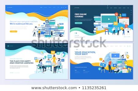 elektronikus · tanul · web · design · sablon · weboldal · szalag - stock fotó © rastudio