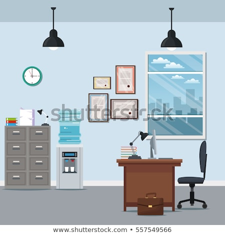 Bookcases Office Interior Set Vector Illustration Stock photo © robuart