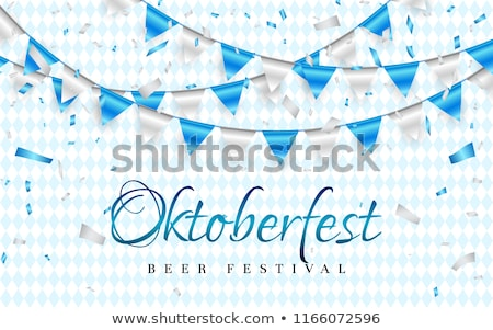 October fest Celebration party banner. Blue and white foil confetti and flag garland. Vector illustr Stock photo © olehsvetiukha