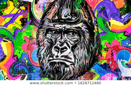 Karikatur dumm Gorilla Illustration Tier Grafik Stock foto © cthoman