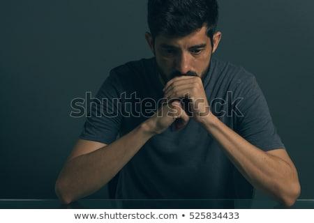 Portret zdenerwowany człowiek stałego czerwony Zdjęcia stock © deandrobot