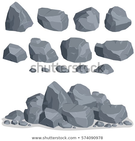 Rock stone cartoon in flat style. Set of different boulders Stock photo © Andrei_