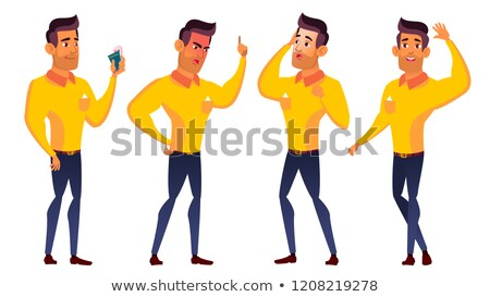 Teen Boy Poses Set Vector. Arab, Muslim. Funny, Friendship. For Advertisement, Greeting, Announcemen Stock photo © pikepicture