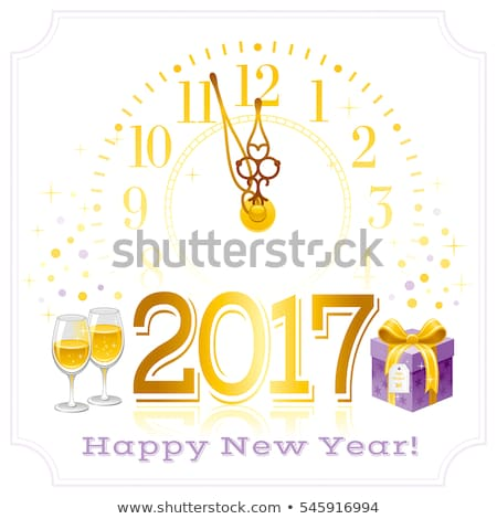 new year background with champagne and golden dial stock photo © derocz