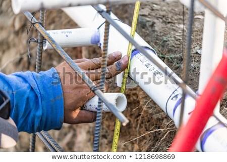 Tesisatçı şerit metre pvc boru Stok fotoğraf © feverpitch