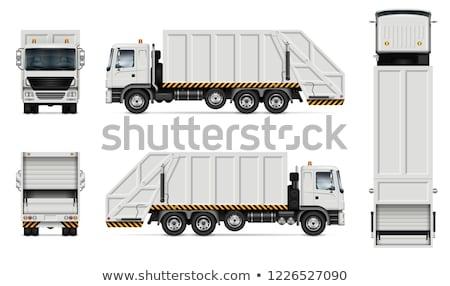 śmieci ciężarówka wektora realistyczny biały Zdjęcia stock © YuriSchmidt