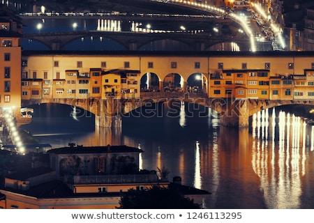 Floransa · Cityscape · panoramik · akşam · görmek · Toskana - stok fotoğraf © givaga