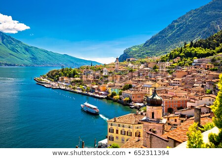 Tower in Limone sul Garda and lake cliffs view stock photo © xbrchx