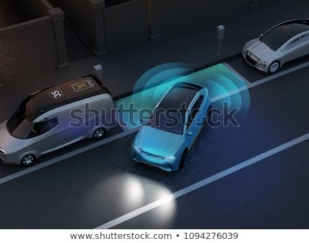 Photo stock: Voiture · électrique · parking · scène · illustration · fond · art