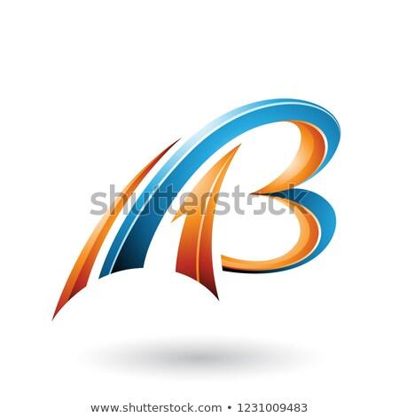 Laranja azul voador dinâmico 3D cartas Foto stock © cidepix