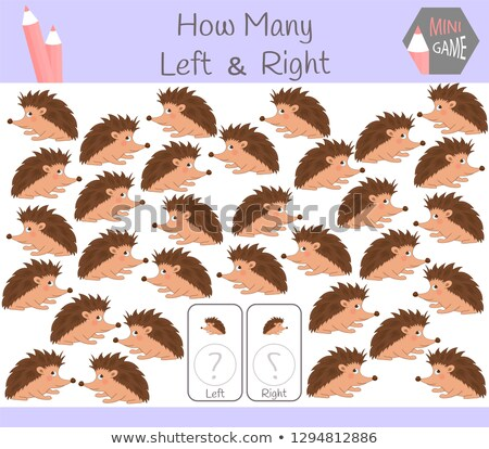 Stock photo: counting left and right pictures of hedgehog