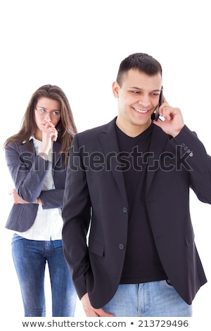 Jealous woman looking at her partner chatting on the phone Stock photo © ruslanshramko