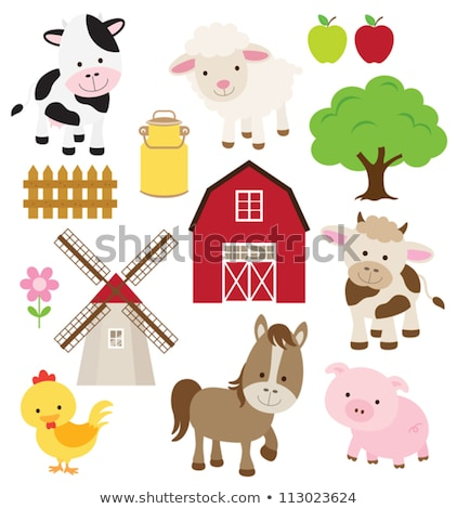 farm animals and windmill stock photo © colematt