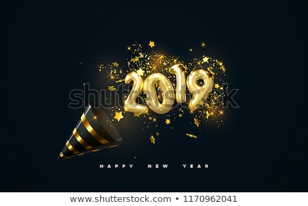 happy new year 2019 gold numbers design of greeting card falling shiny confetti vector illustrati stock photo © olehsvetiukha
