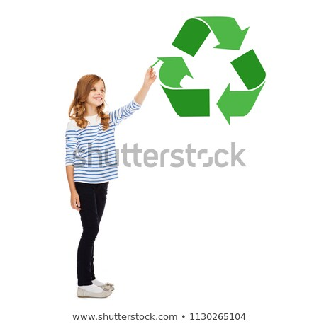 girl with marker pointing to green recycle symbol Stock photo © dolgachov