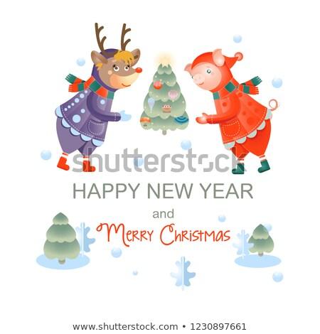 Новый год оленей костюмы набор свиней Сток-фото © robuart