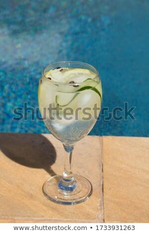 Stok fotoğraf: Salatalık · içmek · kokteyl · havuz · plaj · doğa