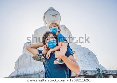 apa · fia · turisták · nagy · Buddha · szobor · magas - stock fotó © galitskaya