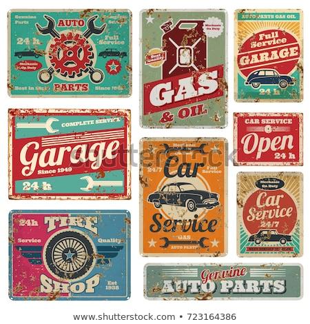 régi · autó · szolgáltatás · jelvények · garázs · javítás · retro - stock fotó © netkov1