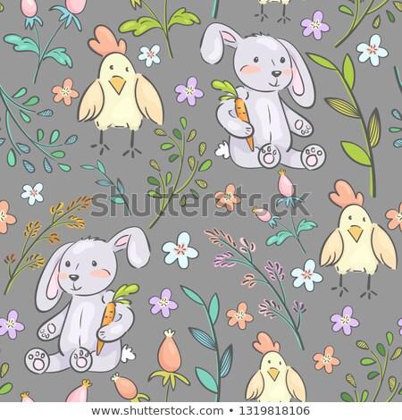 húsvét · üdvözlőlap · tojások · nyulak · dekoratív · kézzel · rajzolt - stock fotó © kali