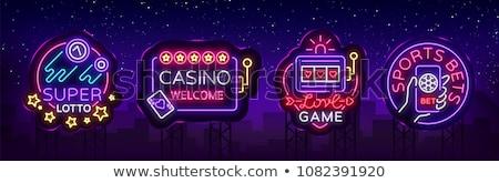 cassino · on-line · néon · etiqueta · jogo · promoção - foto stock © Anna_leni
