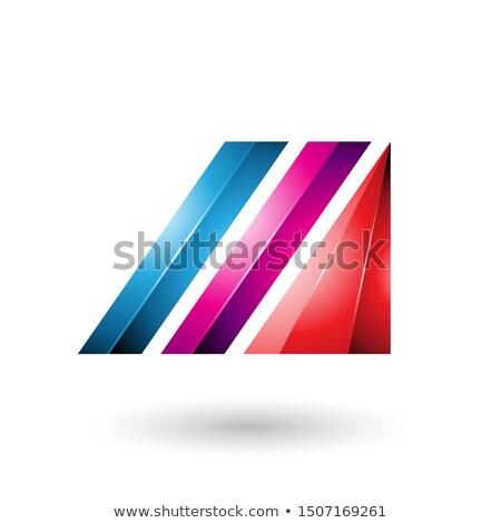 синий пурпурный буква М диагональ баров Сток-фото © cidepix