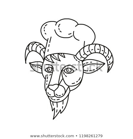 The Goat Chef Cook Baker Mono Line Stock photo © patrimonio