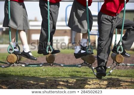 Vier Frames glücklich Kinder Schuluniform Illustration Stock foto © colematt