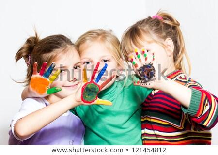 Sechs Kinder glückliches Gesicht Illustration Mädchen Lächeln Stock foto © colematt