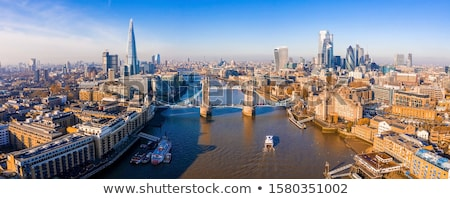 London tájkép sziluett narancs folyó fekete Stock fotó © mayboro