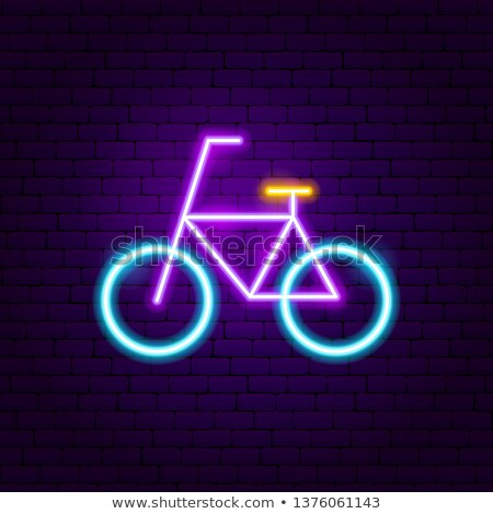 Ciclismo néon etiqueta esportes promoção cidade Foto stock © Anna_leni