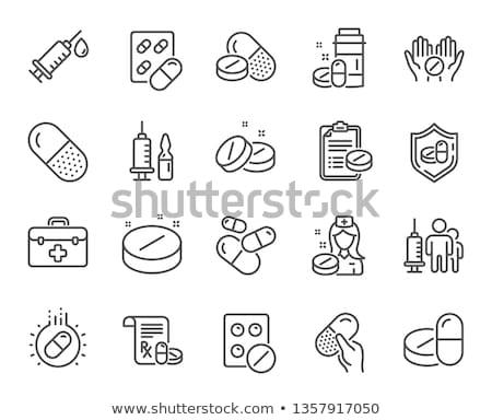 Reçete vektör ikon hat ilaçlar yalıtılmış Stok fotoğraf © smoki