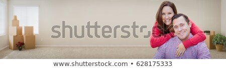 Gelukkig paar binnenkant lege kamer dozen banner Stockfoto © feverpitch