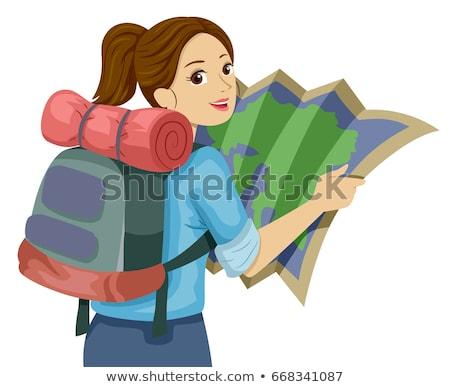 探險者 女孩 冒險 插圖 面對 孩子 商業照片 © bluering