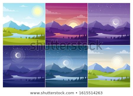 cartoon · landschap · illustratie · zon · wolk · berg - stockfoto © colematt