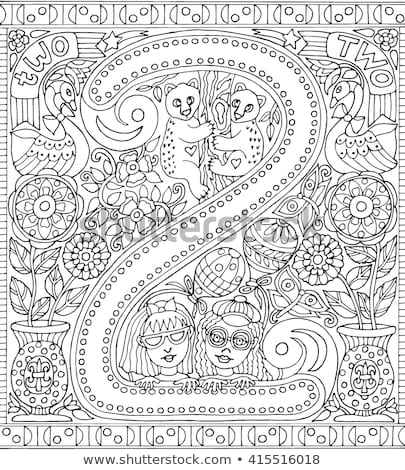 coloring book girl with number two stock photo © clairev