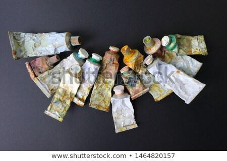 Paletta asztali különböző festék háttér művészet Stock fotó © grafvision