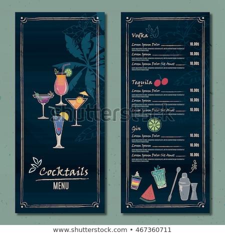 Drawing vertical cocktail menu design Stock photo © netkov1