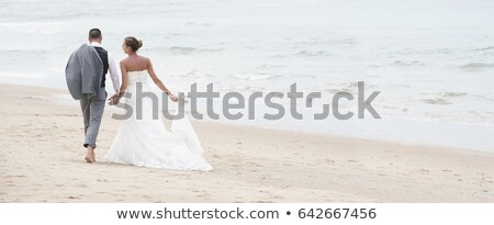 Happy People Walking Holding Hands, Back View, Web Stock photo © robuart