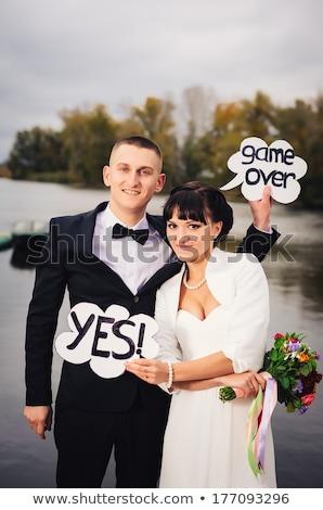 Grappig moment bruiloft dag mooie Stockfoto © dariazu