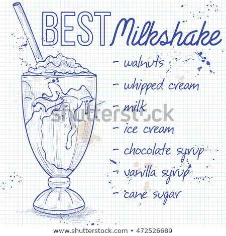 Vanila milkshake recipe on a notebook page Stock photo © netkov1