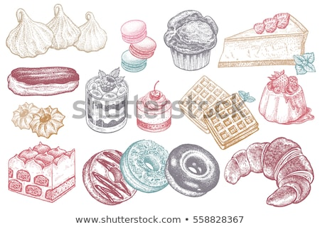 Color Macaroon Biscuit Sweet Dessert Vintage Vector Stock photo © pikepicture