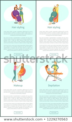 Cheveux styliste affiches vecteur texte Photo stock © robuart