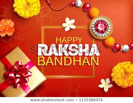 raksha bandhan festival background with golden rakhi (wristband) Stock photo © SArts