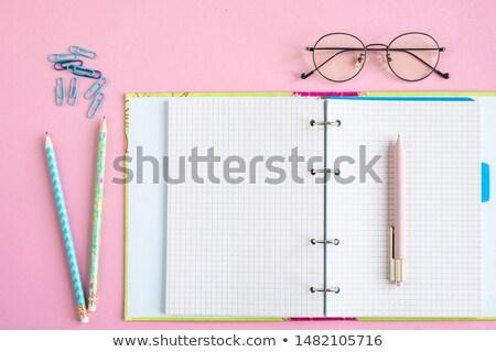 öffnen Schönschreibheft Seiten Stift zwei Bleistifte Stock foto © pressmaster