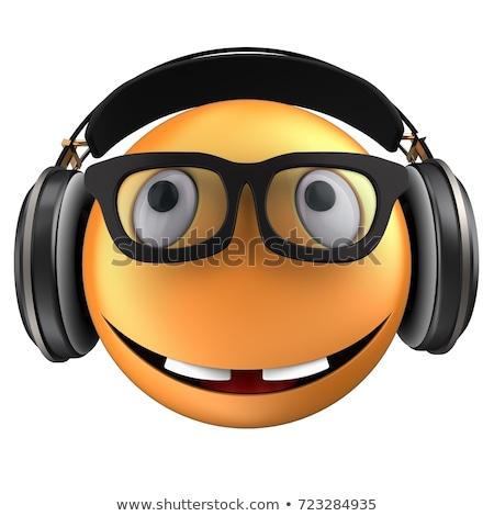 Cartoon funny ilustración lp auriculares blanco negro Foto stock © tiKkraf69